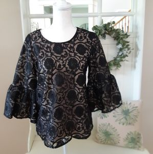 Calvin Klein Black Embroidered Lace Blouse